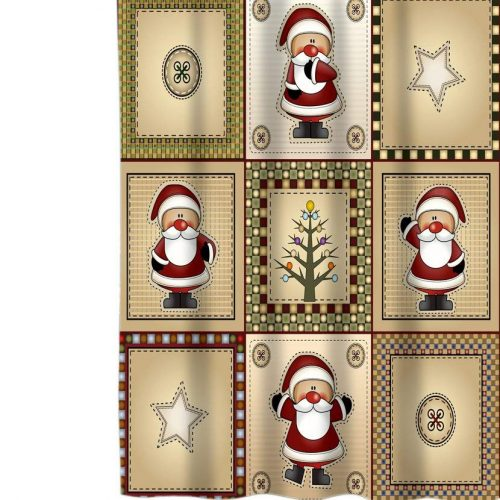 country Christmas shower curtain with Americana Santas