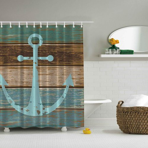 nautical anchor with rustic wood background on shower curtain