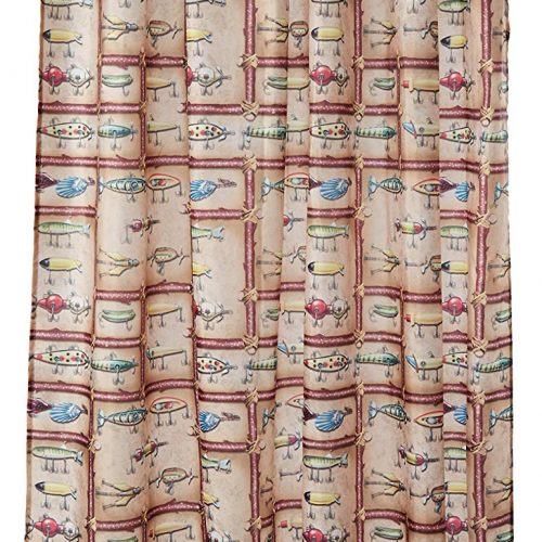 Classic antique lure designs on a shower curtain