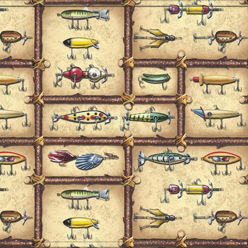 colorful antique fishing lures pictured on memory foam mat