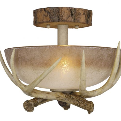 Antler bowl semi-flush ceiling light