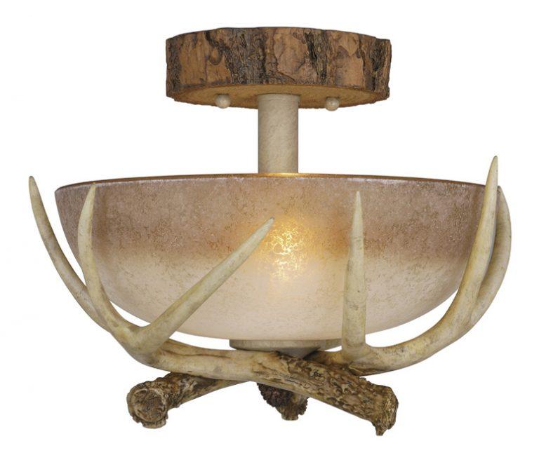Antler bowl semi-flush ceiling light
