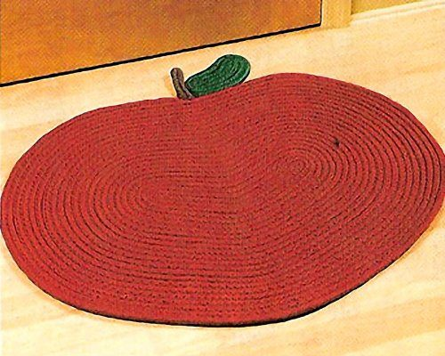 bright red apple shape braided rug