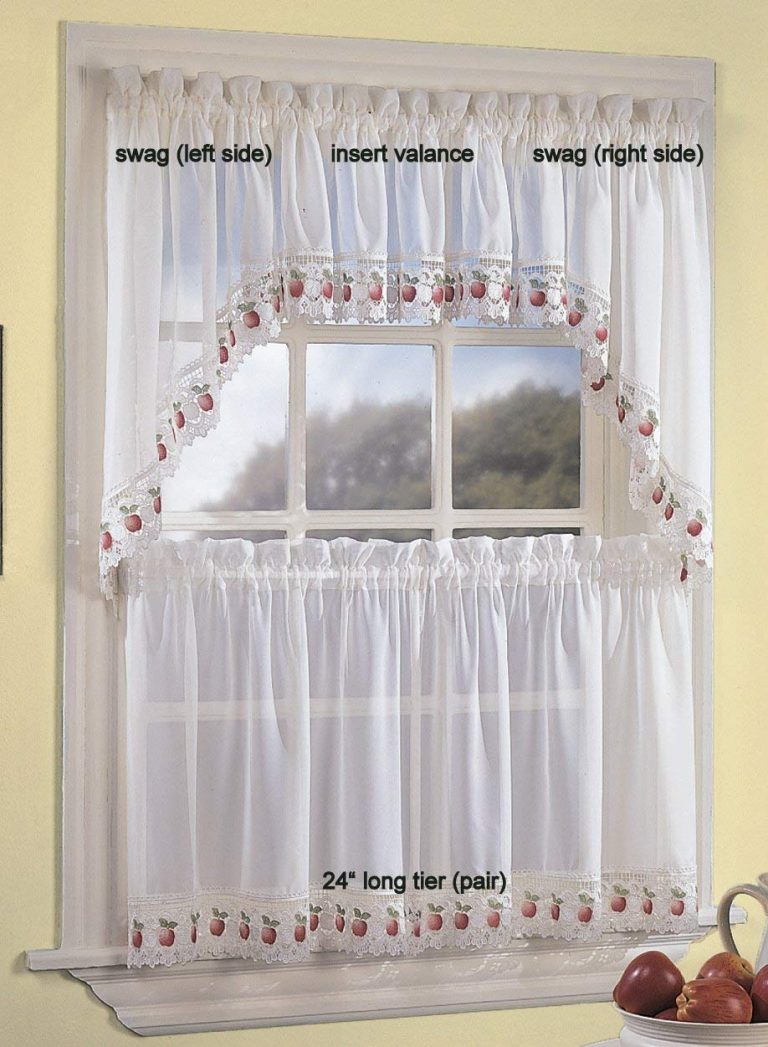 Sheer curtains with apples on the bottom border