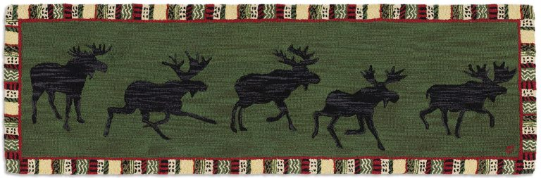 string of five moose silhouettes on green background rug