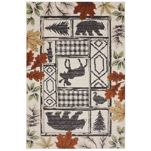 wildlife rug with a moose, bears, a fish and a goose