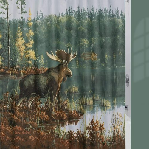 shower curtain with bull moose at waters edge of remote back bay