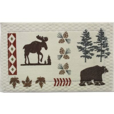 Cream colored rug with moose