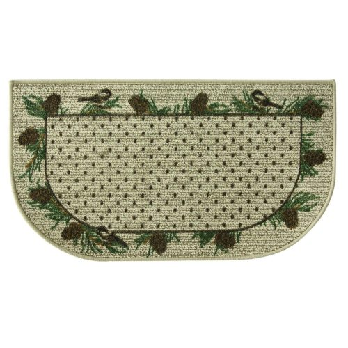 chickadees and pine cones on fire retardant beige rug