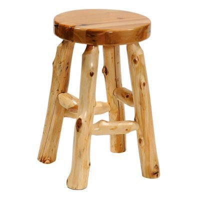 Bar stool made from logs in with clear finish