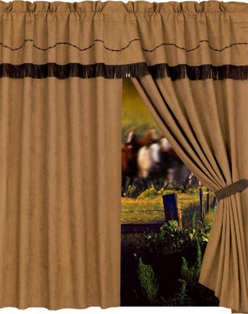 Embroidered barbwire drapes