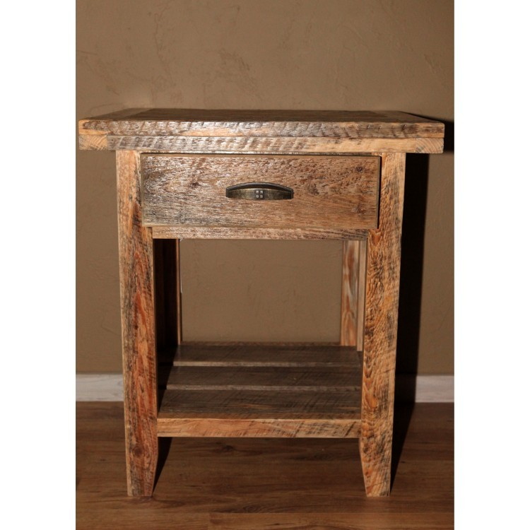 barn wood nightstand with one drawer