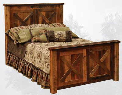 Rustic bed made from old barn wood