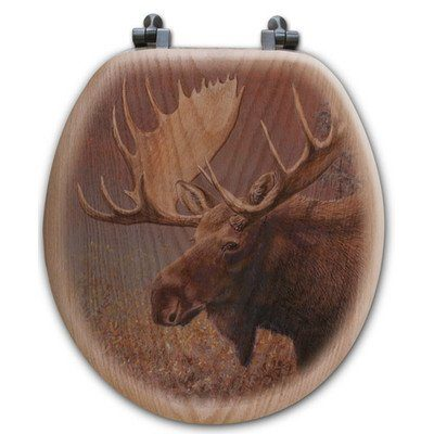 Wooden toilet seat with moose