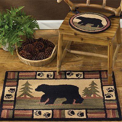 Bath rug with bear