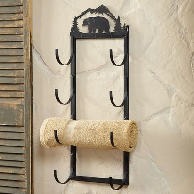 Wrought iron bear towel holder