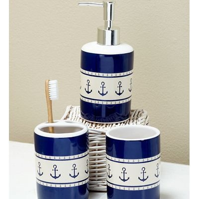 Nautical navy and white design on bath accessories