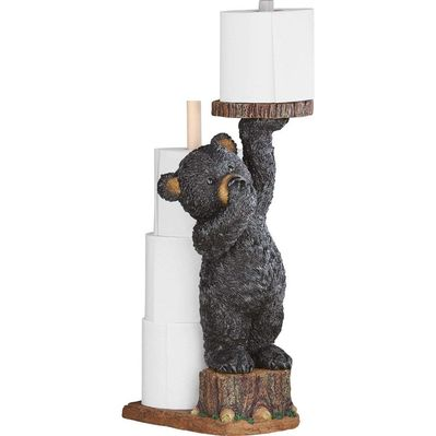 Cute black bear toilet paper holder