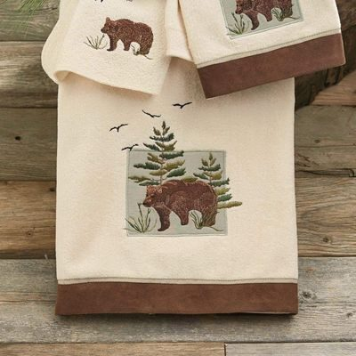 Cream bath towels with moose