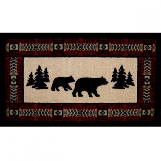 kitchen/bath rug with mama bear and cub wandering in forest