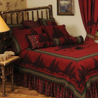 Red blanket rustic bedding bedspread with wildlife and trees
