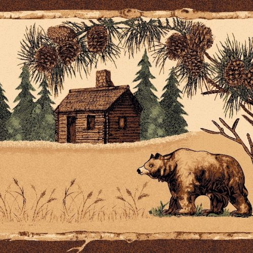 rug with a lone bear wandering past a wooded cabin