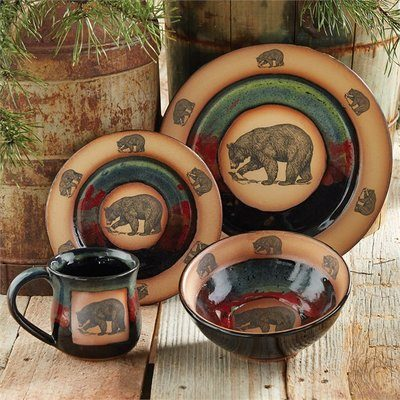 Green and tan rustic dinnerware with bears
