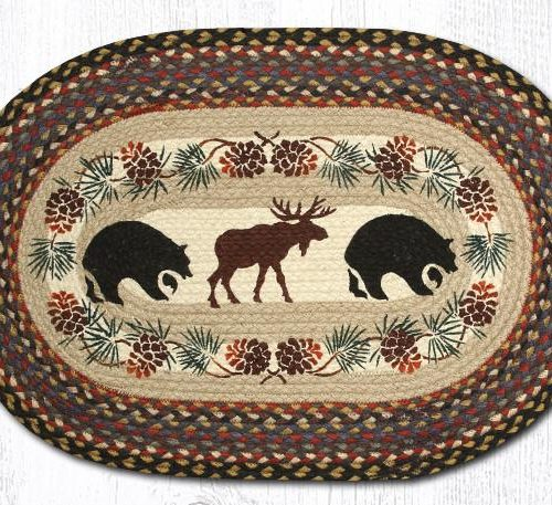 bear and moose on braided rug with pinecone border