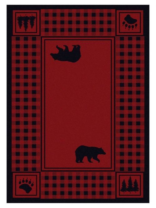black bear silhouettes on a red rug with buffalo check border