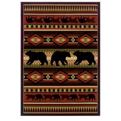 Pretty burgundy rug with bears