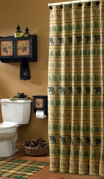 bear silhouettes, log cabins and pine trees on this shower curtain