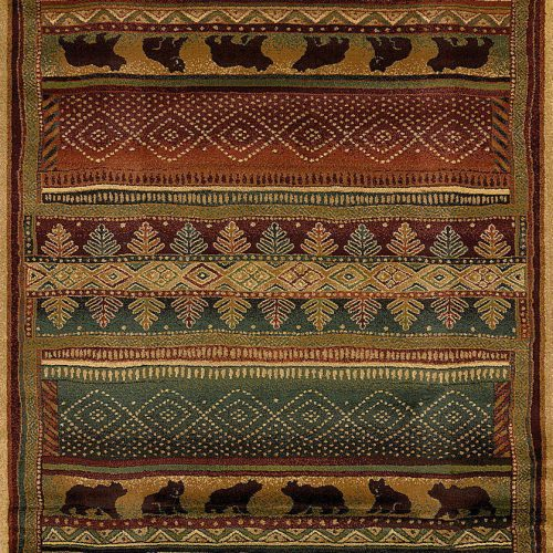 rug features a horizontal stripe design with pine trees and bears walking