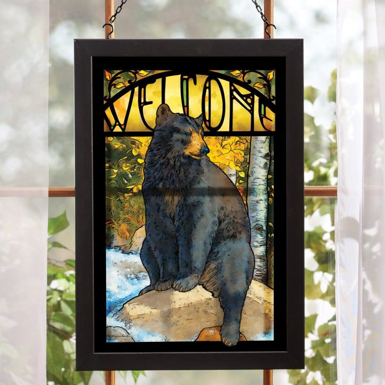 Bear welcome stained glass hanging