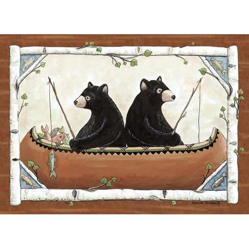 rug picturing two bears in a canoe fishing