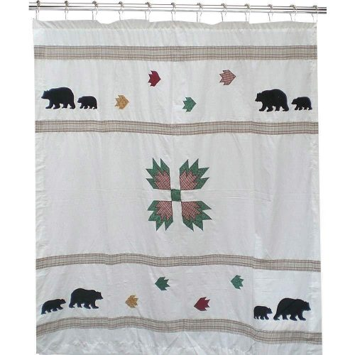 shower curtain with a traditional bear paw quilting pattern and bears