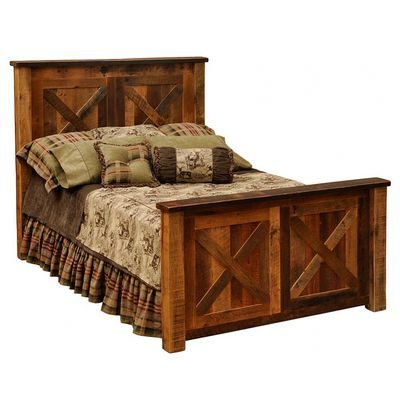 Pretty bed made from barn wood is rustic cabin furniture