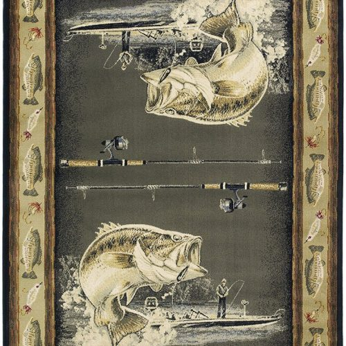 fish rug features a mirror image of 2 large mouth bass, fishermen, lures, more bass, reels and hooks