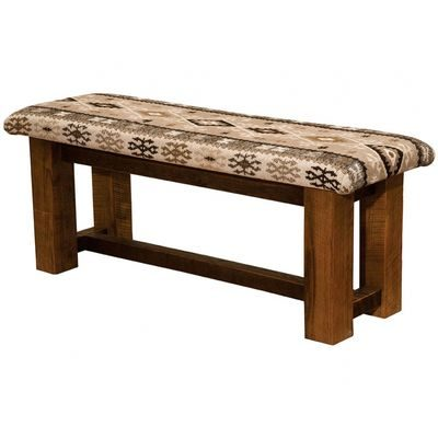 Pretty rustic bench with fabric seat