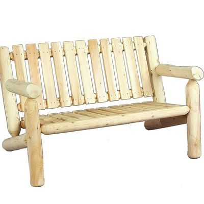 Log bench with back, for two people