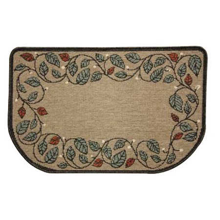 meandering vine with leaves and berries on tan half round fireplace rug