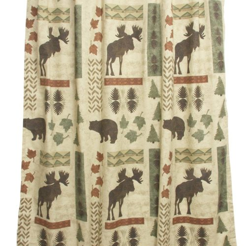 light background shower curtain with moose, bear and tree theme