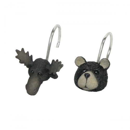 moose head and bear head shower curtain hooks