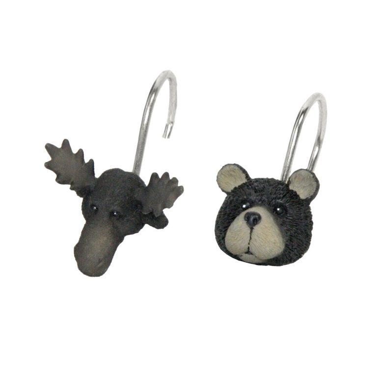 moose head and bear head shower curtain hooks