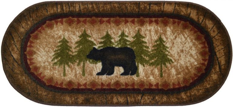 lodge rug with black bear and pine trees