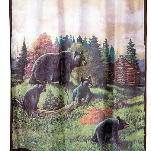 shower curtain with a bear with its cubs