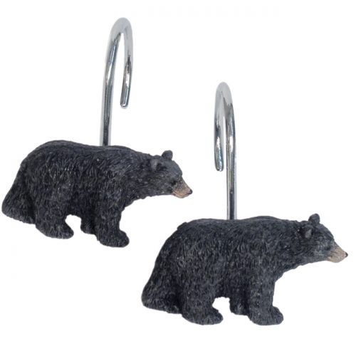 resin black bear figure shower curtain hooks