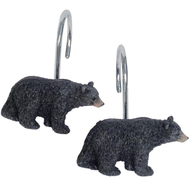 resin black bear figure shower curtain hooks
