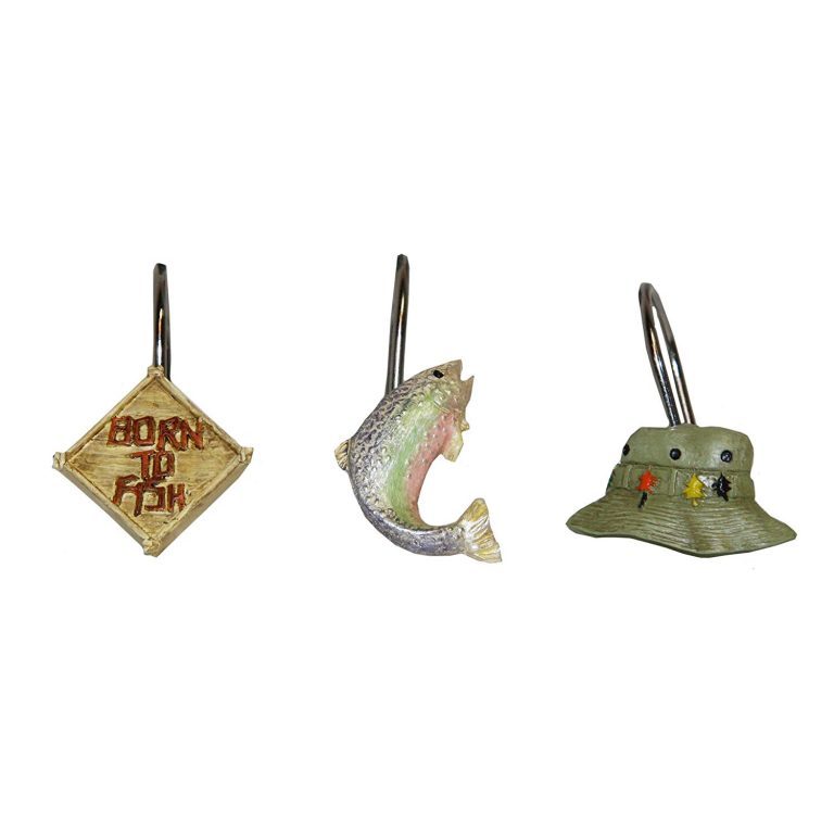 set of 12 shower curtain hooks made of resin and features shapes of fishing signs, fishing hats and a fish
