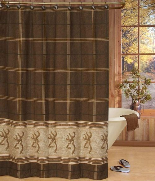 chocolate and tan plaid shower curtain with Browning Buckmark logo