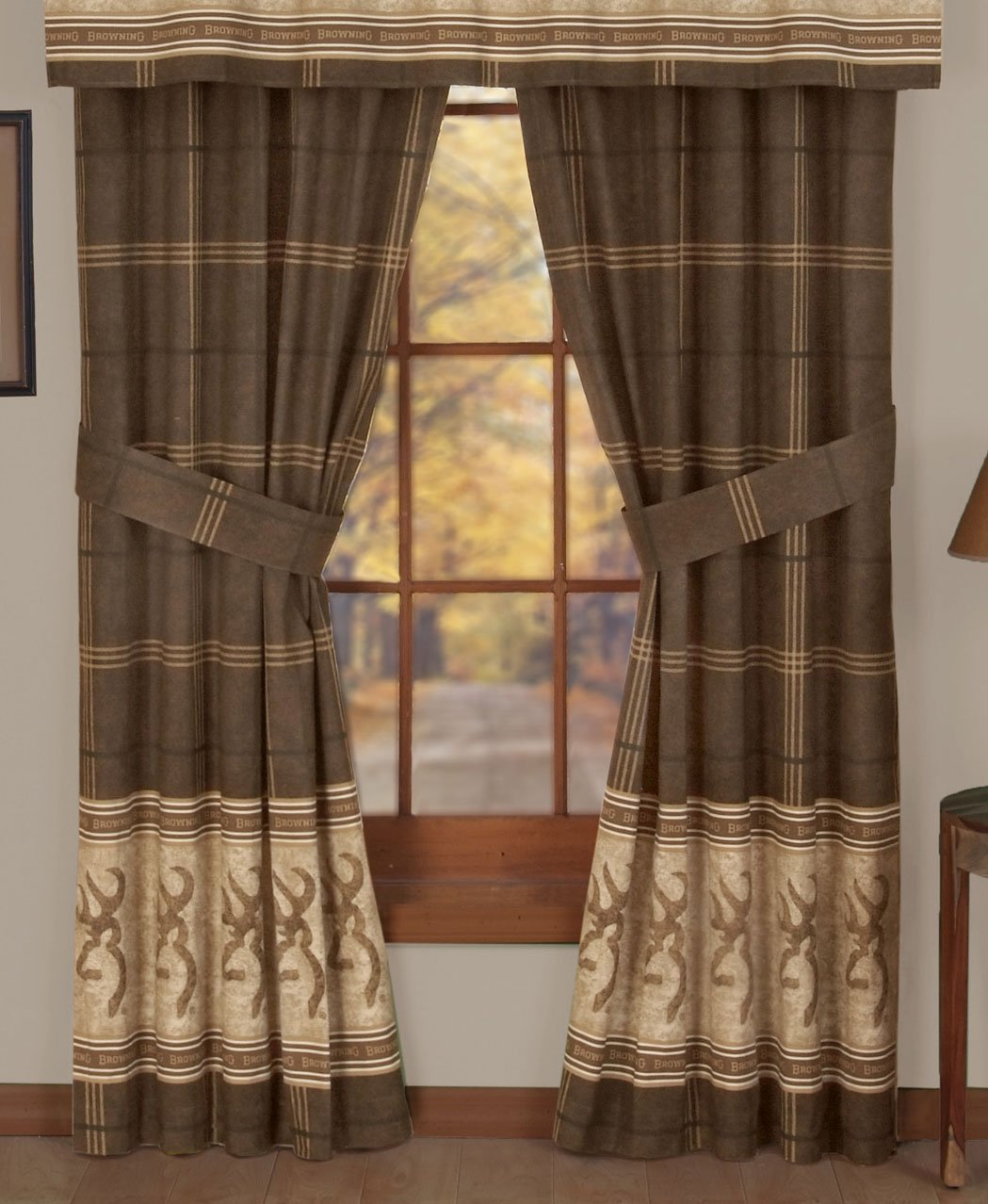 Home Garden Shower Curtains Browning Burgundy Buckmark